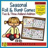 Seasonal Roll & Bump Two & Three Addend Addition Math Games