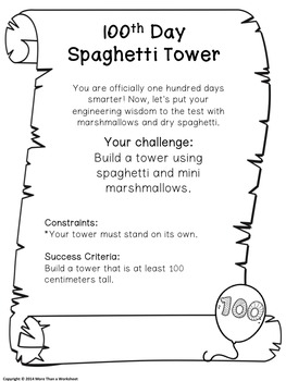 100th day of school stem spaghetti structure by more than a worksheet. Black Bedroom Furniture Sets. Home Design Ideas