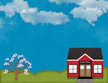 Seasonal School House Digital Paper Backgrounds