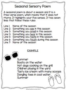 Seasonal Sensory Poem - Defining & Writing