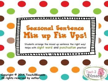 Seasonal Sentence Mix it Fix Its!