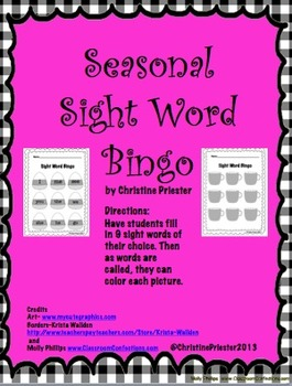 Seasonal Sight Word Bingo