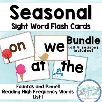 Seasonal Sight Word Flashcards Bundle (Fountas & Pinnell list 1)