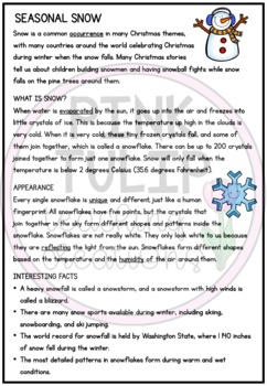 Seasonal Snow Christmas Comprehension - Reading Strategy Worksheet