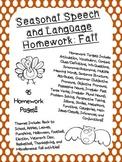 Seasonal Speech and Language Homework: Fall