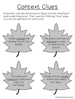 Seasonal Speech and Language Homework: Fall