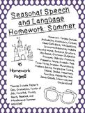 Seasonal Speech and Language Homework: Summer