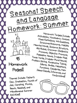 Seasonal Speech and Language Homework: Summer