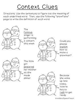 Seasonal Speech and Language Homework: Winter