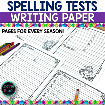 Seasonal Spelling Test Lined Papers - Halloween Christmas Valentines