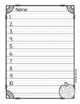 Spelling Test Templates Seasonal Papers - 10, 12, 15 and 20 words