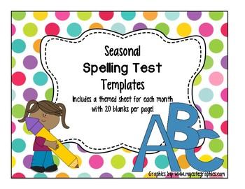 Seasonal Spelling Test Templates (12 pack)