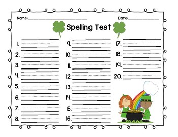 Seasonal Spelling Test Templates (12 pack)