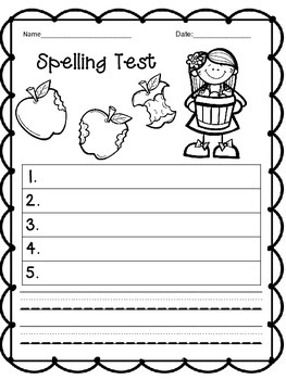 Seasonal Spelling Test Templates