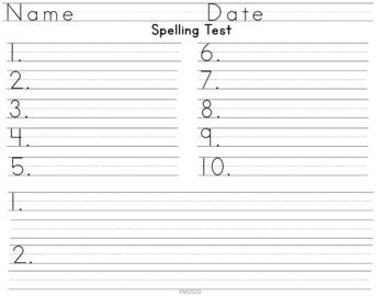 Seasonal Spelling Tests 10 Words