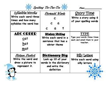 Seasonal Spelling Tic-Tac-Toe