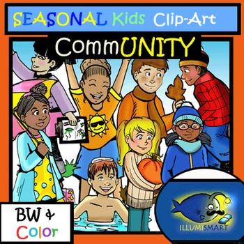 Seasonal Stuff CommUNITY Kids Clip-Art (16 pc. BW and Color!)