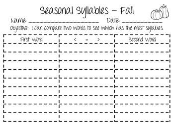 Seasonal Syllables - Fall Edition