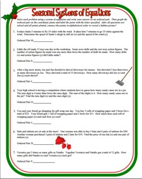 Seasonal Systems of Equations Word Problems - Christmas Math Activity