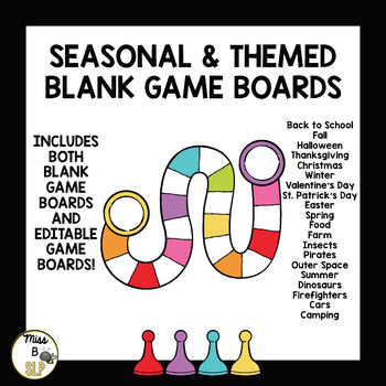 Seasonal & Themed Game Boards-BLANK AND EDITABLE!