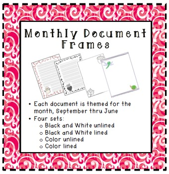 Seasonal Themed Monthly Document Frames / Stationery - BUNDLE