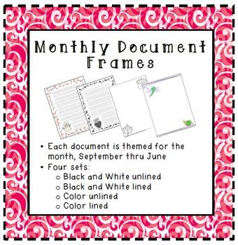 Seasonal Themed Monthly Document Frames / Stationery - BUNDLE