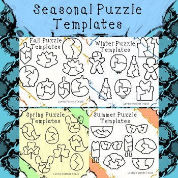 Seasonal Themed Puzzle Template Bundle