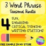 Seasonal Three Word Phrase Writing Station BUNDLE