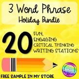 Holiday Three Word Phrase Writing Station BUNDLE