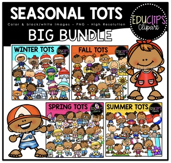 Seasonal Tots Clip Art Big Bundle {Educlips Clipart}