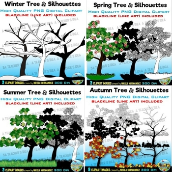 Seasonal Trees Clip Art  for Commercial Use