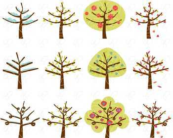 Seasonal Trees Clipart by Poppydreamz NOW with LINE ART