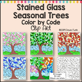 Seasonal Trees Stained Glass Color by Number or Code Clip Art Designs