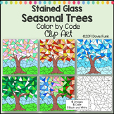 Seasonal Trees Stained Glass Color by Number or Code Clip Art Designs Version 2