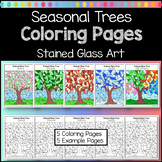 Seasonal Trees Stained Glass Coloring Pages