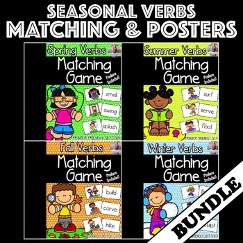 Seasonal Verbs Matching Games & Posters [[BUNDLE]]