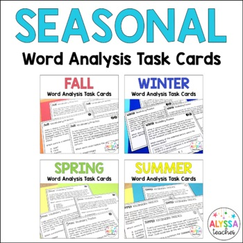 Seasonal Vocabulary Skills Task Cards Bundle
