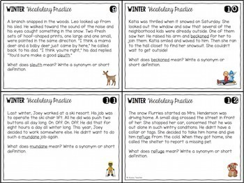 Seasonal Vocabulary Skills Task Cards Bundle