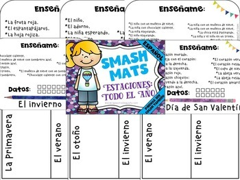 Seasonal Vocabulary Smash Mats - NO PREP + Coloring Pages in SPANISH