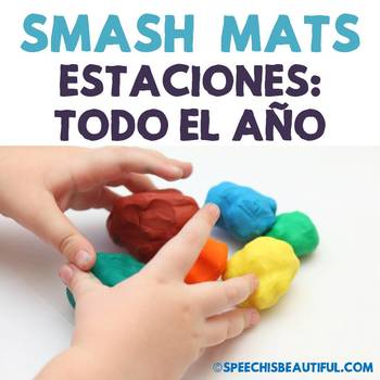 Seasonal Vocabulary Smash Mats - NO PREP in SPANISH Speech Therapy