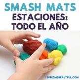 Seasonal Vocabulary Smash Mats - NO PREP in SPANISH Speech Therapy