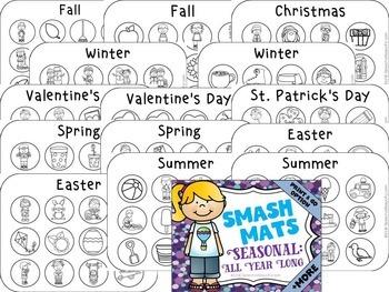 Seasonal Vocabulary Smash Mats - NO PREP + Sorts & Coloring
