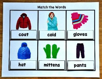 Seasonal Vocabulary Words Matching Mats Growing Bundle