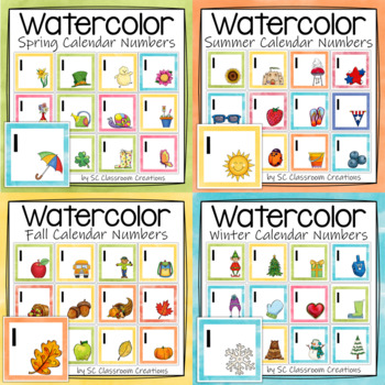 Seasonal Watercolor Calendar Numbers for the Year (Bundle)