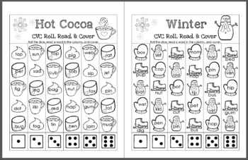 Seasonal (Winter, Spring, Summer, and Fall) CVC Roll, Read, and Cover BUNDLE