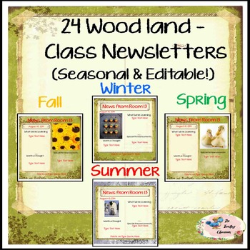 Seasonal Woodland Newsletters -  A Newsletter for your classroom! (Editable)