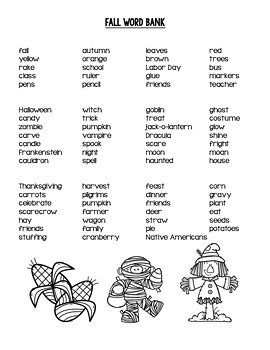 Seasonal Word Banks, Portable Word Wall, and Word Lists for Writing