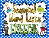 Seasonal Word List Freebie-Canada