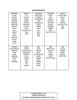 Seasonal Word Lists - EDITABLE