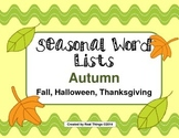 Fall Word Lists-Thanksgiving, Fall, Halloween